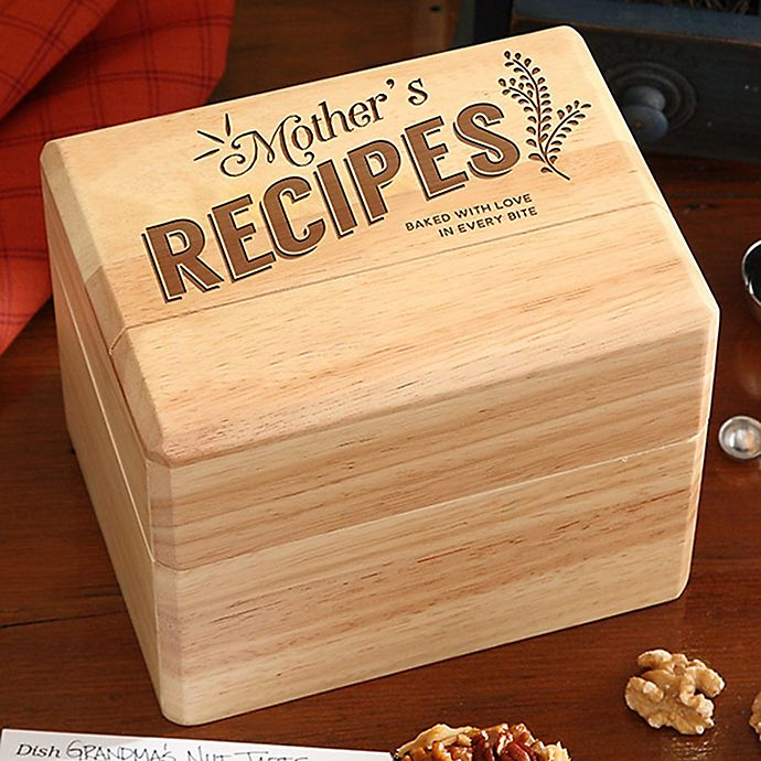 Alternate image 1 for Mother's Recipes Wooden Recipe Box