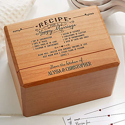 Recipe for a Happy Marriage Wooden Recipe Box