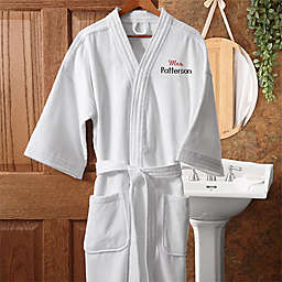 """Mrs."" White Embroidered Velour Robe"