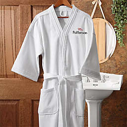 """Mr."" White Embroidered Velour Robe"