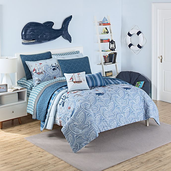 Alternate image 1 for Waverly Kids Ride the Waves Reversible Twin Comforter Set in Aqua
