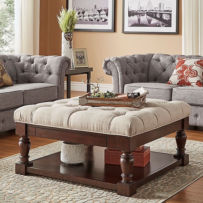 Inspire 174 Annie Button Tufted Cocktail Table Ottoman Bed