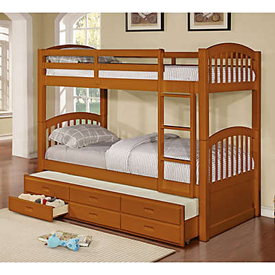 K&B Furniture Twin Over Twin Bunk Bed with Trundle and Storage Drawers