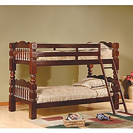 K&B Furniture Carved Spindle Twin Bunk Bed