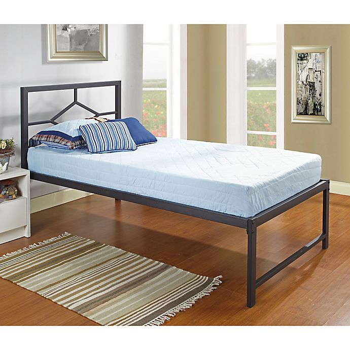 Alternate image 1 for K&B Furniture Twin Metal Daybed with Headboard in Black