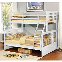 K&B Furniture Twin Over Full Bunk Bed in White