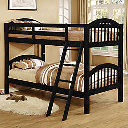 K&B Furniture Arched Twin Over Twin Bunk Bed in Black