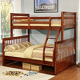 K&B Furniture Twin/Full Combo Bunk Bed in Esprit Walnut