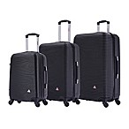 InUSA Royal 3-Piece Hardside Spinner Luggage Set in Black
