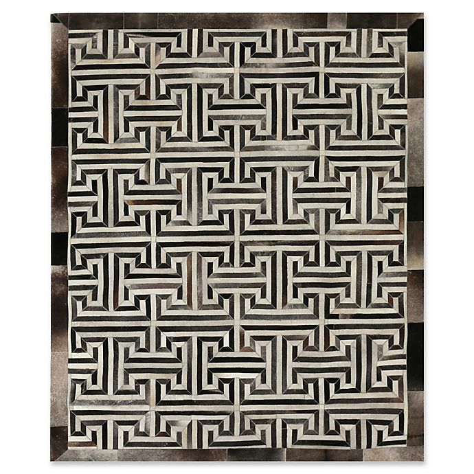 Alternate image 1 for Exquisite Rugs Maze Cowhide 8-Foot x 11-Foot Area Rug in Grey/Ivory
