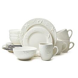 Thomson Pottery Seashells 16-Piece Stoneware Dinnerware Set