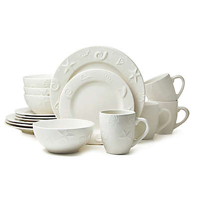 Thomson Pottery Seashells 16-Piece Stoneware Dinnerware Set