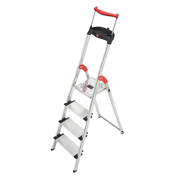 Swell Hailo Xxr 4 Step Ladder In Silver Bed Bath Beyond Ibusinesslaw Wood Chair Design Ideas Ibusinesslaworg