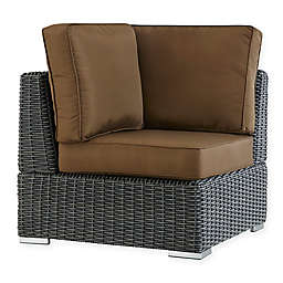 Verona Home Brescia All-Weather Wicker Corner Chair with Cushions