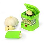 Kitchen Innovations Garlic Chopper with Garlic Peeler & Storage Container in Green