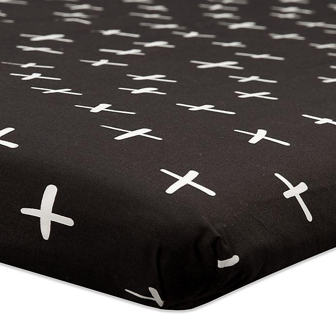 Alternate image 1 for Babyletto Tuxedo Swiss Cross Fitted Mini Crib Sheet
