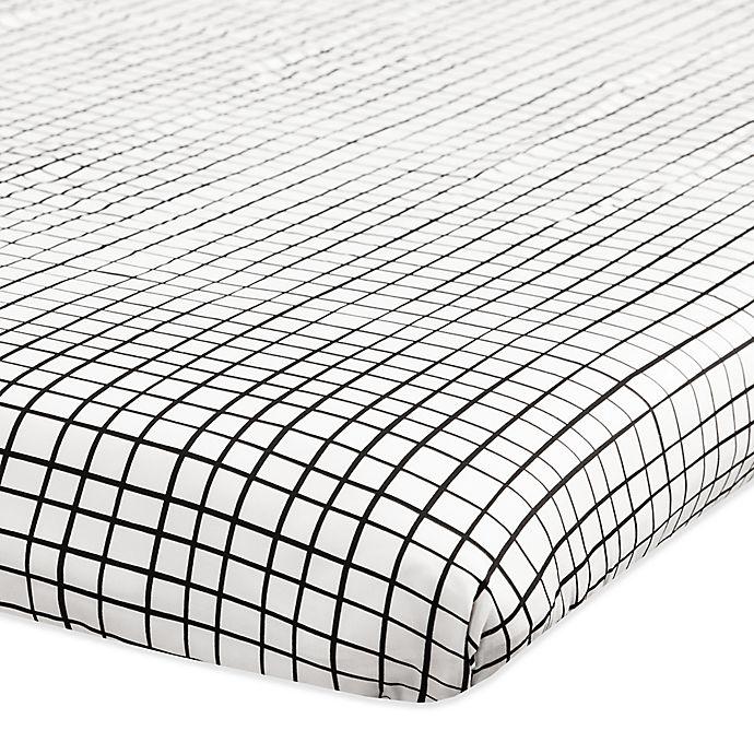 Alternate image 1 for Babyletto Tuxedo Grid Fitted Mini Crib Sheet