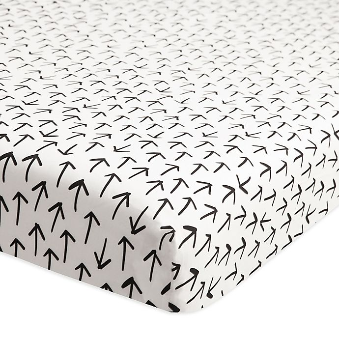 Alternate image 1 for Babyletto Tuxedo Arrows Fitted Mini Crib Sheet