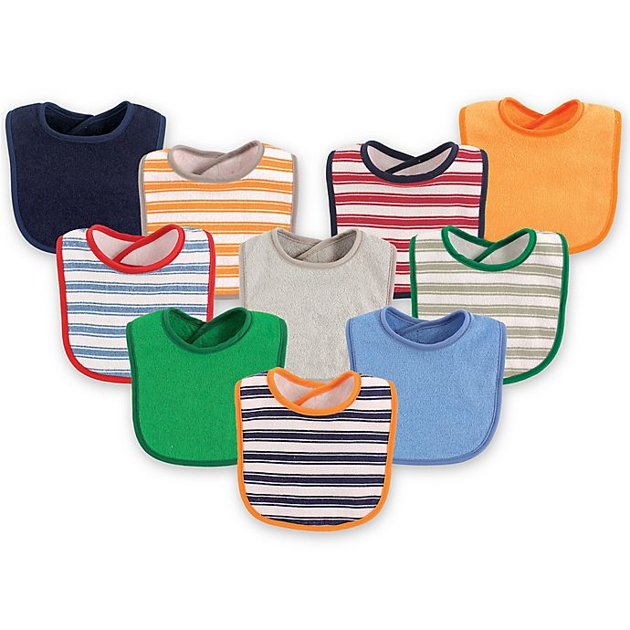 Alternate image 1 for Luvable Friends® 10-Pack Stripes Drooler Bib Set in Blue