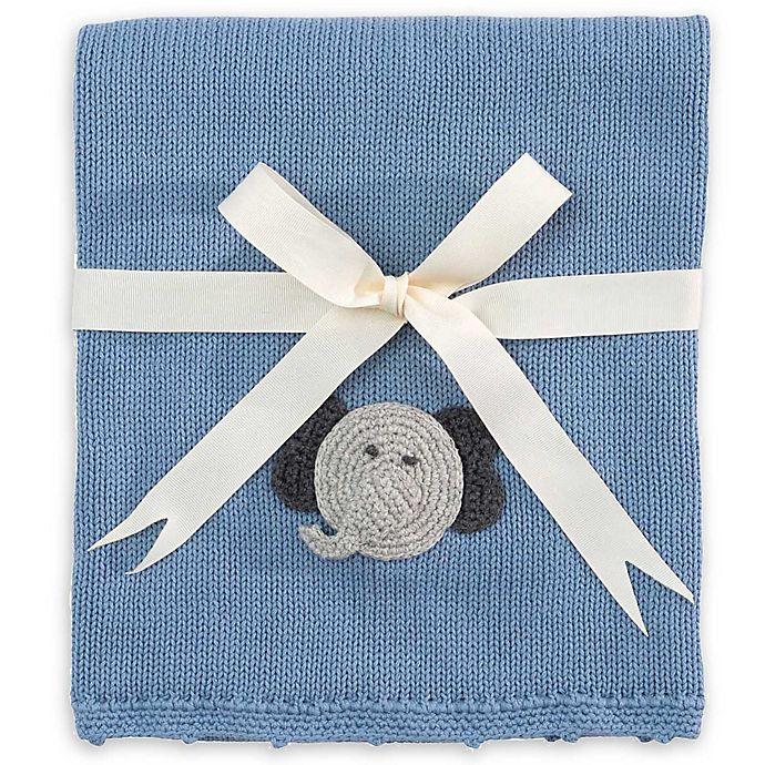 b56716df2cd5 Elegant Baby® Cotton Knit Blanket with Crochet Elephant in Blue ...