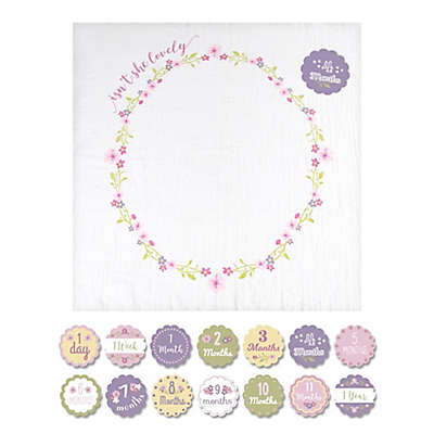 """Lulujo Baby """"Isn't She Lovely"""" Muslin Swaddle Blanket and Cards Set in White/Pink"""