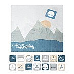 Lulujo Baby  Move Mountains  Muslin Swaddle Blanket and Cards Set in White/Multicolor