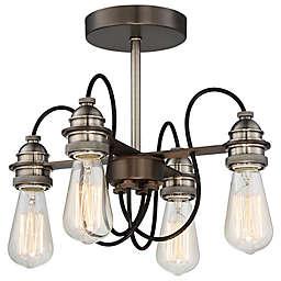 Minka-Lavery® Uptown Edison 4-Light Semi Flush Ceiling Light in Bronze/Pewter