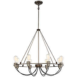 Minka-Lavery® Uptown Edison 8-Light Chandelier in Bronze/Pewter