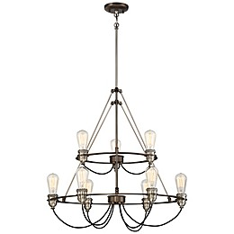 Minka-Lavery® Uptown Edison 9-Light Chandelier in Bronze/Pewter