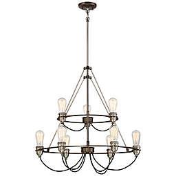 Minka-Lavery® Uptown Edison 9-Light Chandelier in Bronze/Pewter