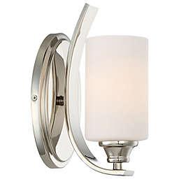 Minka-Lavery® Tilbury 1-Light Wall-Mount Bath Fixture in Polished Nickel with Opal Glass Shade
