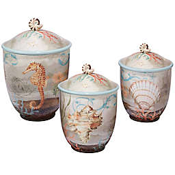 Certified International Coastal View Susan Winget 3-Piece Canister Set in Beige