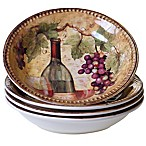 Certified International Gilded Wine Soup/Pasta Bowls (Set of 4)