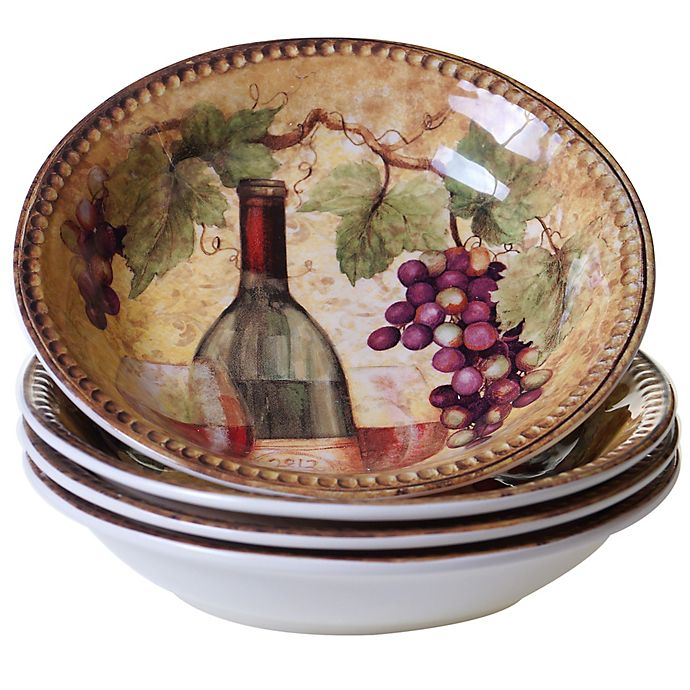 Alternate image 1 for Certified International Gilded Wine Soup/Pasta Bowls (Set of 4)