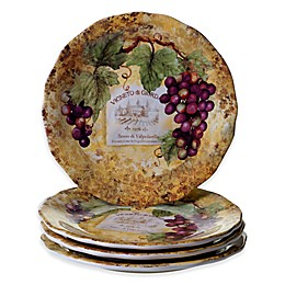 Certified International Gilded Wine Dinner Plates (Set of 4)