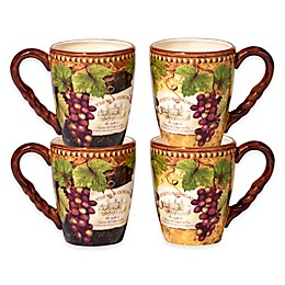Certified International Gilded Wine Mugs (Set of 4)