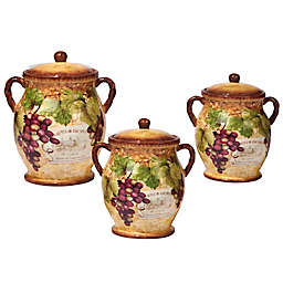 Certified International Gilded Wine 3-Piece Canister Set