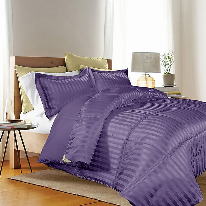 Alternate image 1 for Kathy Ireland® Reversible Down Alternative Twin Comforter Set in Purple