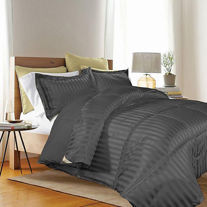 Alternate image 1 for Kathy Ireland® Reversible Down Alternative Twin Comforter Set in Black
