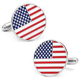 Cufflinks, Inc. Silver-Plated and Enamel Round American Flag Cufflinks