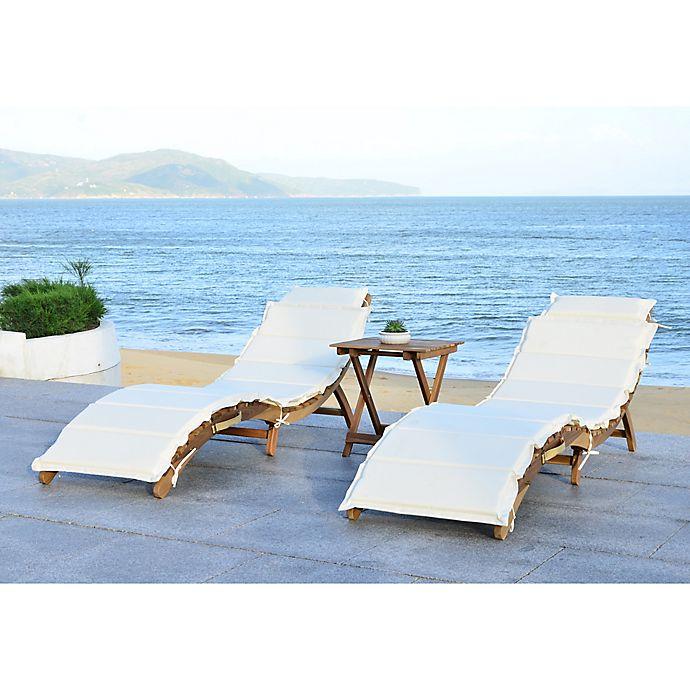 Alternate image 1 for Safavieh Pacifica 3-Piece Outdoor Lounge Set in Teak Brown/Beige