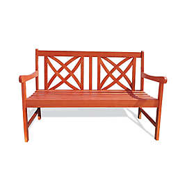 Vifah Eucalyptus All Weather Bench in Natural Wood