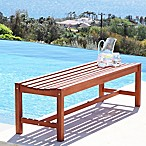 Vifah Malibu All-Weather Backless Bench in Natural Wood