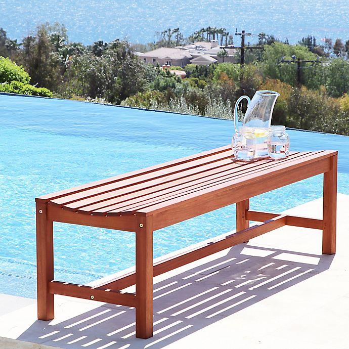 Outstanding Vifah Malibu All Weather Backless Bench In Natural Wood Ncnpc Chair Design For Home Ncnpcorg