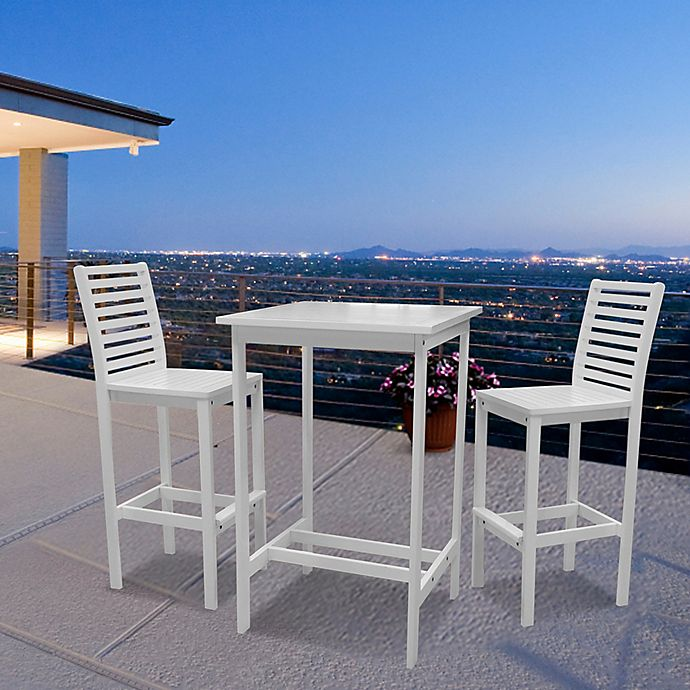 Alternate image 1 for Vifah Bradley 3-Piece Bar Table Set in White