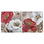 Poppies Floral Canvas Wall Art in Red/White (Set of 2)