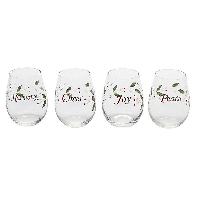 Alternate image 1 for Pfaltzgraff® Winterberry Sentiment Stemless Wine Glasses (Set of 4)