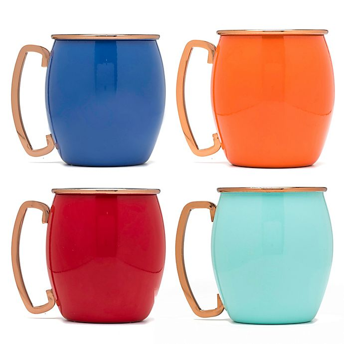 Alternate image 1 for Fiesta® Copper and Multicolor Moscow Mule Mugs (Set of 4)