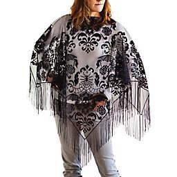 Heritage Lace Halloween Damask Fringe Poncho in Grey