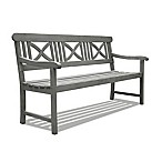Vifah Renaissance X-Back Outdoor Bench in Grey